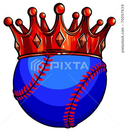 King of baseball concept, a baseball ball wearing a gold crown vector 70097639
