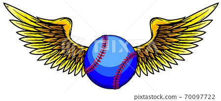 vector illustratio of Baseball ball with wings 70097722