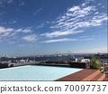 Blue sky, blue sea, blue pool and Yokohama Bay Bridge 70097737