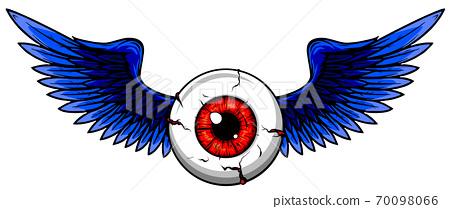 Vector illustration of Tattoo Flying Eyeball design 70098066