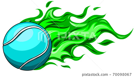 A flaming tennis ball on fire flying through the air 70098067