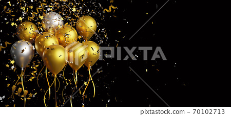 Gold and silver balloon with foil confetti falling on black background 3d render 70102713