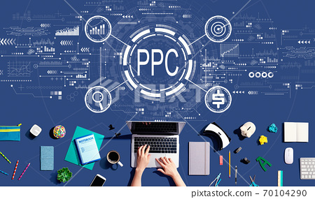 PPC - Pay per click concept with person using a laptop 70104290