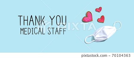 Thank You Medical Staff message with face mask and heart drawings 70104363