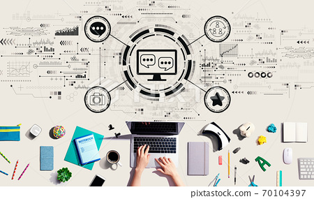Social media theme with person using a laptop 70104397