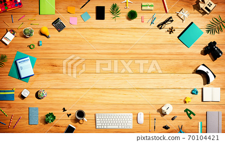 Collection of electronic gadgets and office supplies 70104421