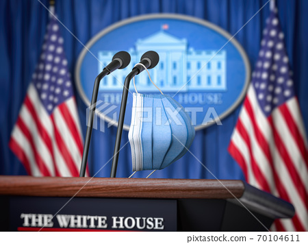 Mask on microphone in White House. Coronavirus COVID 19 of president of USA concept. 70104611