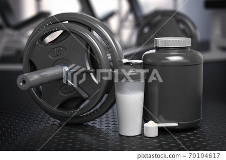 Whey protein can with barbell and shaker on the floor of gym. Mock up. Sports bodybuilding supplements and nutrition. 70104617