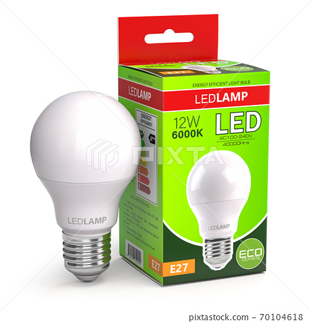 Led lamp with package box isolated on white. Energy efficient light bulb. 70104618