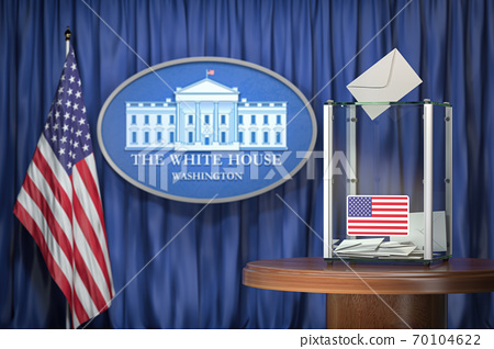 US Presidentilal Election concept. Ballot box with USA flags and sign of White House. 70104622