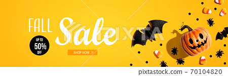 Fall sale banner with Halloween decorations 70104820