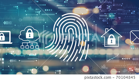 Fingerprint scanning theme with blurred city lights 70104845