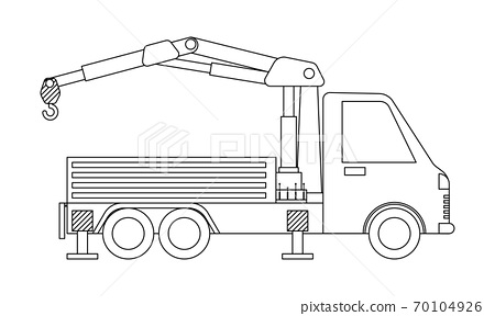 Crane truck outline isolated on white background. Coloring page. 70104926