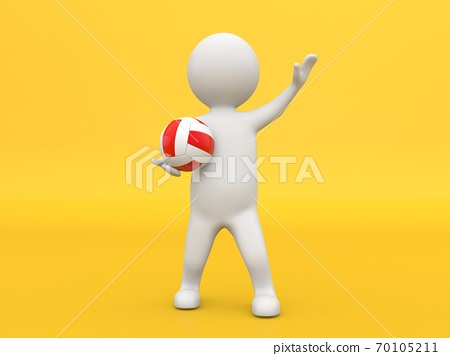 3d character with a volleyball on a yellow background. 70105211