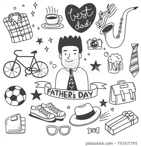 Father's Day. Collection of hand drawings of male accessories on background 70107795