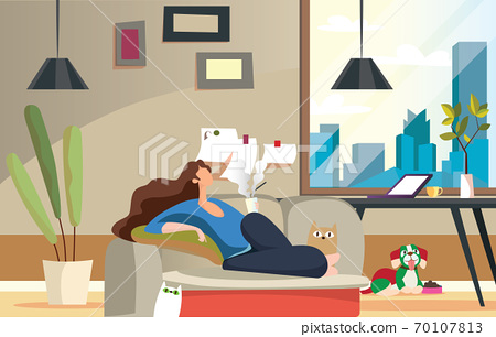 Stay Home Work Home.Protect Yourself.Girl keeping Distance for Decrease Infection Risk For Prevent Virus Covid-19.Stay Home on Quarantine During the Coronavirus Epidemic 70107813
