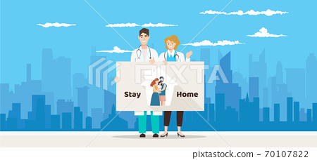 "COVID-19 Quarantine lockdown country. Doctor wearing face mask hold board ""stay home "". Coronavirus Disease awareness. Quarantine 70107822"