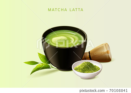Japanese matcha latte set 70108841