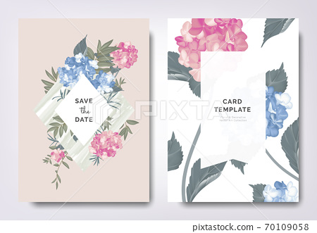 Botanical wedding invitation card template design, blue and pink hydrangea and leaves on frame 70109058