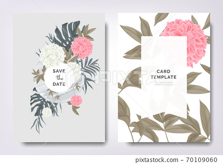 Botanical wedding invitation card template design, pink and white dahlia flowers and leaves on frame 70109060