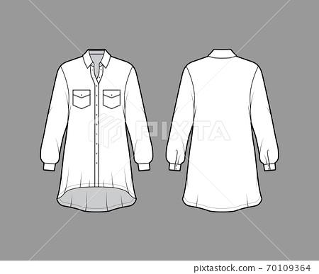 Oversized shirt dress technical fashion illustration with angled pockets, long sleeves, regular collar, high-low hem. 70109364