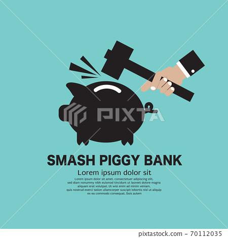 Piggy Bank Breaking By Hammer Black Symbol Vector Illustration. 70112035