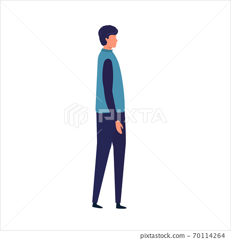 Side View of a Man Walking Forward. Vector illustration. man while walking. Vector illustration in flat style. 70114264
