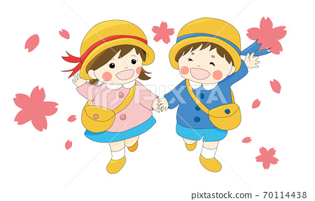 손을 잡고 웃는 얼굴로 걷는 제복을 입은 연지 (벚꽃의 흰색 배경) 70114438