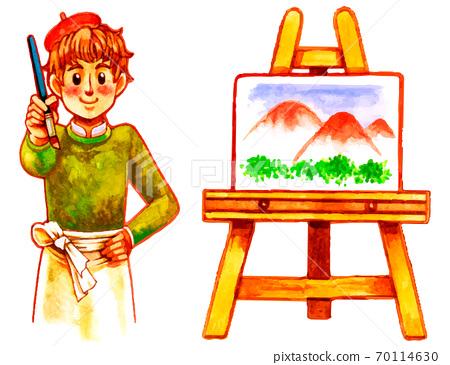 一個年輕的男人,畫一個畫架和一幅油畫的插圖 70114630