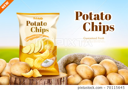 Salty potato chips ad 70115645