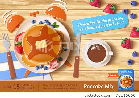 Fresh fruit pancake ad template 70115650