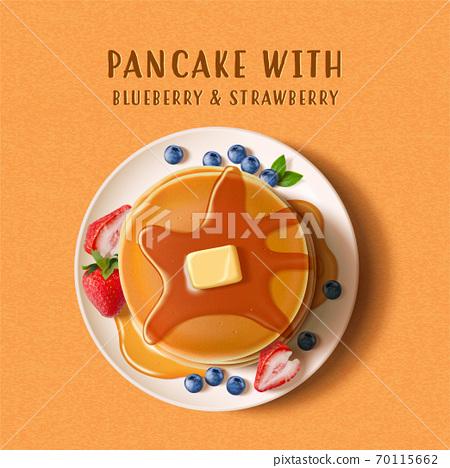 Tasty pancake with fresh fruit 70115662