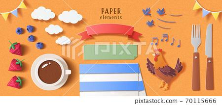 Breakfast element set in paper cut 70115666