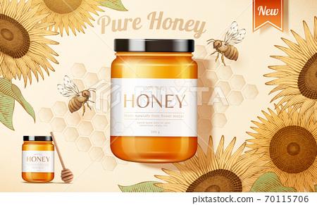Sunflower honey ad banner 70115706