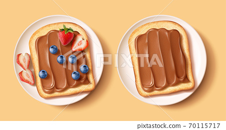 Chocolate spreading on toast breads 70115717