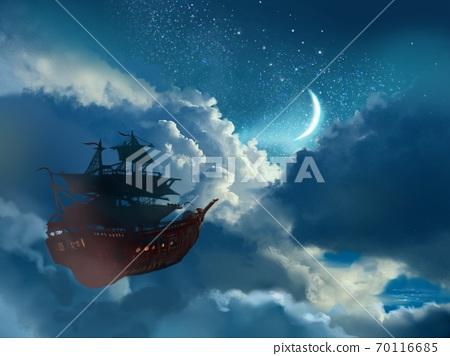 달이 빛나는 밤하늘에 떠도는 비행선의 판타지 배경 70116685