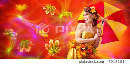 Autumn sale umbrella banners leaves background 70121014
