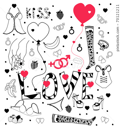 love doodle. A set of drawings about love and with romantic womens clothes and shoes. For romantic and festive designs and decoration for Valentines Day. Vector. isolated elements 70121211