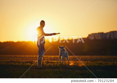 Man throwing flying disc for his dog 70123284