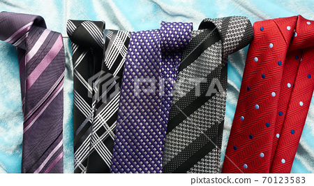 various men's silk ties, top view 70123583