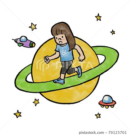 在土星環上奔跑的女孩 70123701