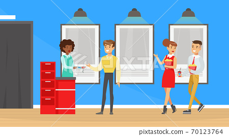 People Going to the Cinema with Popcorn, Visitors Buying Cinema Tickets at Service Ticket Counter Cartoon Vector Illustration 70123764