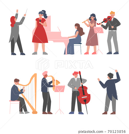 Musician Characters Playing Musical Instruments Set, Playing Violin, Classical Instrumental Symphony Orchestra Performers Flat Style Vector Illustration 70123856