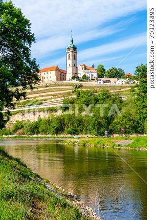 Melnik Castle on the hill above Labe and Vltava River confluence, Czech Republic 70123895