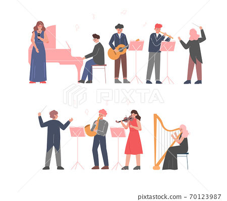 Musician Characters Playing Musical Instruments Set, Playing Violin, Classical Musicians Performingon Stage, Instrumental Symphony Orchestra Flat Style Vector Illustration 70123987
