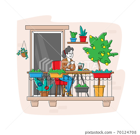 Relaxed Female Character Sitting in Comfortable Armchair Drinking Coffee at House Balcony with Potted Plants or Flowers 70124708