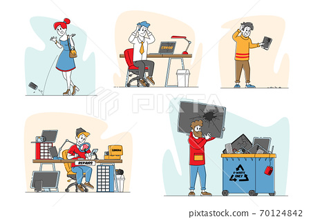 Set of Upset Characters with Broken Gadgets, People Drop Smartphone on Ground. Unlucky Situation with Mobile Phone 70124842