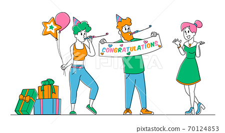 Cheerful Characters Greeting Happy Girl Celebrating Birthday, Surprise Party. Friends Playing Pipes Holding Balloons 70124853