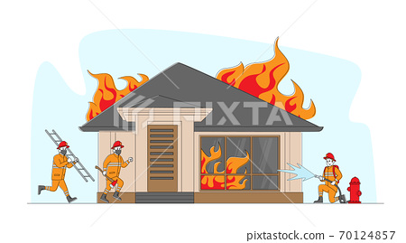 Group of Firemen Fighting with Blaze at Burning House. Characters Team in Firefighters Uniform Extinguish with Big Fire 70124857