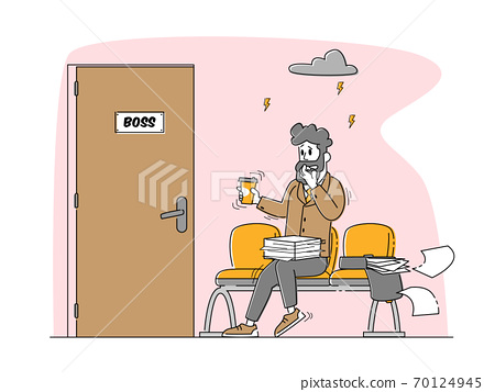 Office Manager or Businessman Sitting front of Door to Boss Cabinet Sweating and Feeling Fear, Panic Attack Disorder 70124945